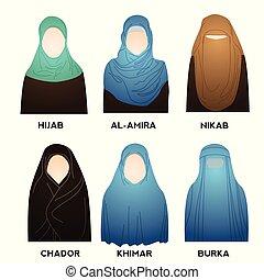 tradycyjny, kobieta, wzory, muslim, zbiór, costume., hijab, styles., typ