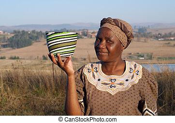 tradycyjny, kobieta, zulus, afrykanin