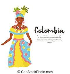 tradycyjny, kolumbijczyk, kobieta, kostium, owoce