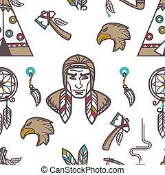 tradycyjny, kultura, próbka, indianie, symbolika, tło., amerykanka, krajowiec