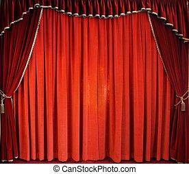 tradycyjny, kurtyna, czerwony, teatr