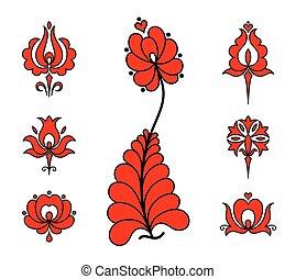 tradycyjny, kwiatowe elementy, węgierski, haft