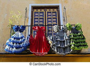 tradycyjny, malaga, dom, sp, andalusia, flamenco, stroje
