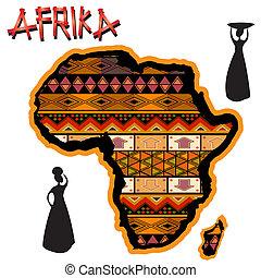 tradycyjny, mapa, afryka