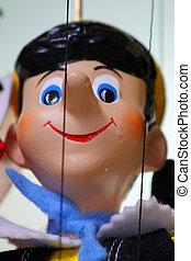 tradycyjny, marionetka, -, pionowy, pinocchio