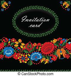 tradycyjny, ozdoba, węgierski, lud