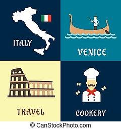 tradycyjny, podróż, włoski, płaski, ikony