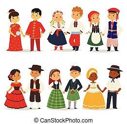 tradycyjny, różny, dzieciaki, illustration., sprytny, litera...