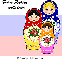 tradycyjny, ruski, matryoschka, dol