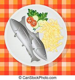 tradycyjny, ryba i zestrużyny