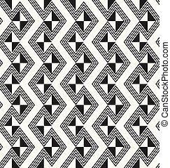 tradycyjny, starożytny, gmach modelują, konturowany, -, rhombuses, struktura, seamless, modeluje, wektor, afrykanin, monochromia, wielostrzałowy, geometryczny