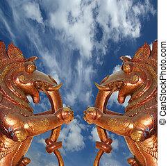 tradycyjny, statut, bogi, kerala, indie, hindus, boginie, świątynia, południe