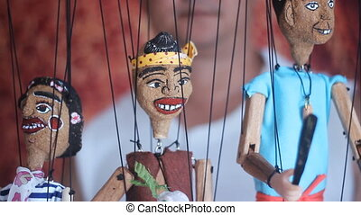 tradycyjny, thai, marionetka, zawiązywać