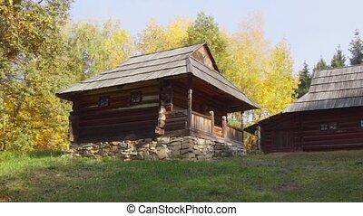 tradycyjny, ukraina, drewniany, wiejski, dom