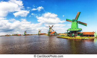 tradycyjny, wiatraki, stary, Drewniany, muzeum, Holenderski,...