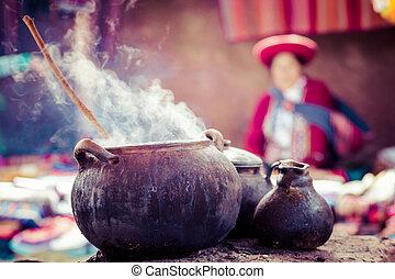 tradycyjny, wieś, w, peru, południe, america.