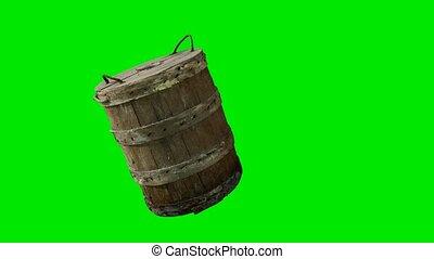 tradycyjny, zielony, drewno, chromakey, wiadro, stary, tło