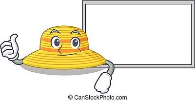 traer, sombrero, caricatura, diseño, tabla, arriba, pulgares, dedo, blanco, verano