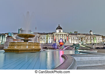 Trafalgar Square at London, England - Trafalgar Square...