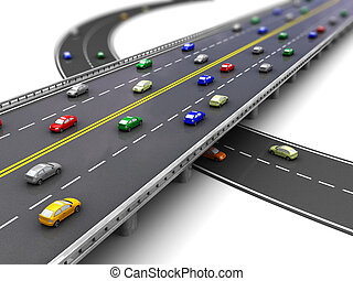 Traffic - 3d of road way with several cars driving