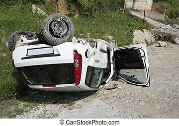 Traffic accident. Car crash. Car flipflop