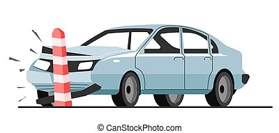 Traffic accident of car collision with road limiter - Car ...