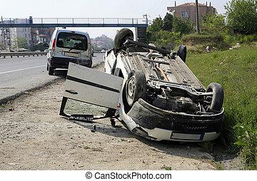 Traffic accident. Car crash in world.