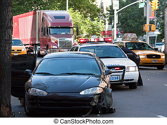 Traffic Accident - Traffic accident with a smashed in fender...