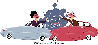Traffic collision with one car rear-ended another, male and female drivers screaming and gesturing at each other, smoke and sparkles coming from damages vehicles, vector illustration, no transparencies, EPS 8