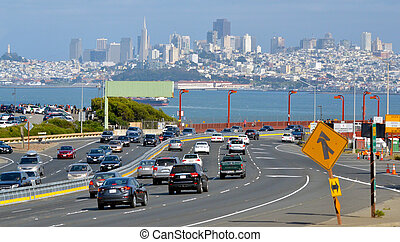 Traffic aginst San Francisco skylin California
