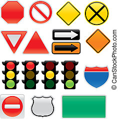 A collection of vector traffic signs and map symbols. Stop, yield, traffic lights, interstate and highway signs, one way, detour, construction sign, railroad, do not enter.