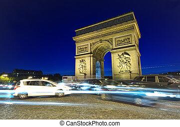 traffic at Arc de Triomphe - Arch of Triumph, Paris, France