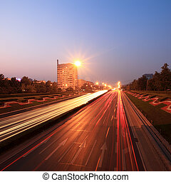 traffic at dusk in rush hour