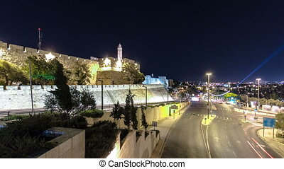 Traffic at Jaffa street and Tower of David at night timelapse hyperlapse. JERUSALEM, ISRAEL