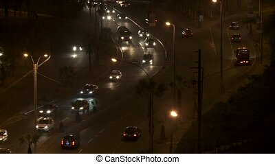 Traffic at Night, Lima - traffic at night in Lima, Peru