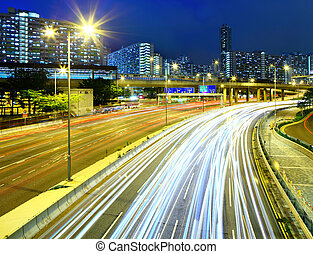 Traffic at night on highway