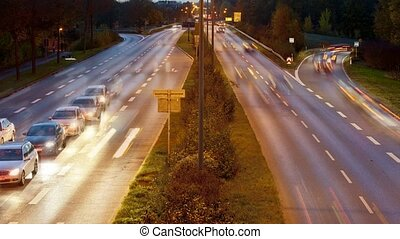 traffic at night on urban expressway in german city