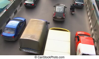 Traffic at rush hour. Top view from bridge.