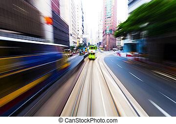 traffic blur motion in modern city hongkong