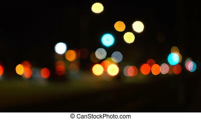 Traffic Bokeh at Night in City