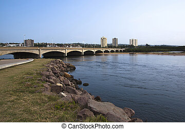 Traffic Bridge Over Mouth of Umgeni River Durban South Africa