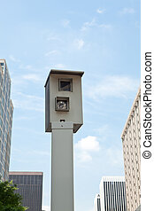 Traffic Camera Mounted Post Downtown City Rosslyn, VA -...
