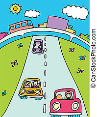 traffic cartoon with cars, trucks and other vehicles on a overpass and highway road.