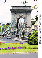Traffic circle and chain bridge in Budapest, Hungary
