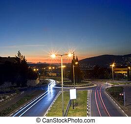 traffic circle by night