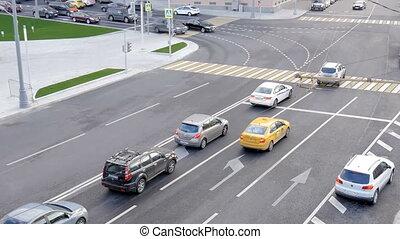 Traffic city cars slow motion.