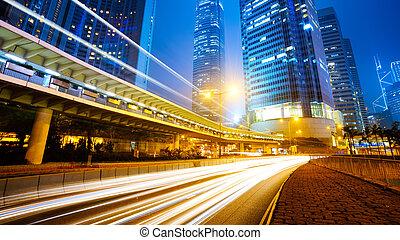 hongkong - traffic city night  at hongkong,china