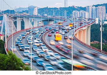 traffic closeup on bridge