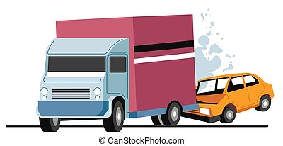 Traffic collision of lorry and car, accident on road - Road ...