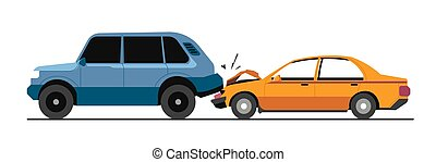 Traffic collision, traffic accident with damaged vehicles ...